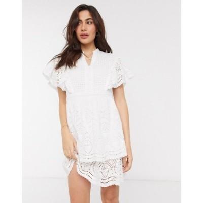 ヴェロモーダ レディース ワンピース トップス Vero Moda broderie mini dress with flutter sleeves in white