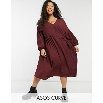 エイソス ドレス 大きいサイズ レディース ASOS DESIGN Curve oversized textured shirt smock midi dress in burgundy エイソス ASOS