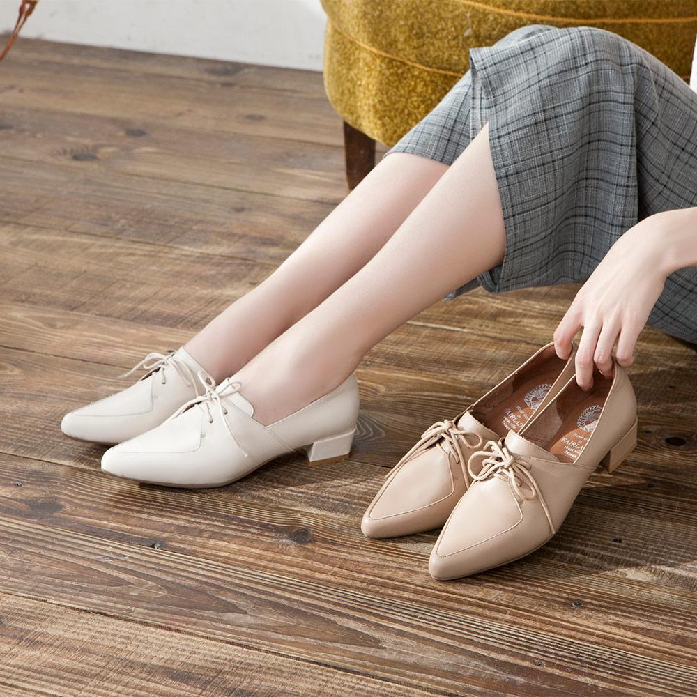 【新品】小時光 經典學院綁帶尖頭低跟牛津鞋 經典白 (602376)