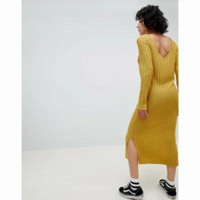 エイソス ワンピース DESIGN knitted midi dress in wide rib with v back Mustard