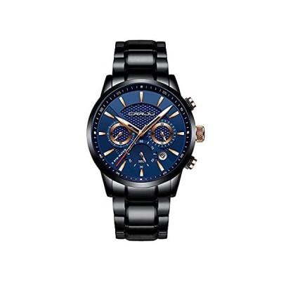 CRRJU ブランド メンズ ビジネス カジュアル クロノグラフ クォーツ 防水 腕時計 ブラック ステンレススチールストラップ ブラックブルー好評販売中