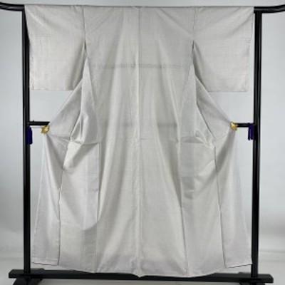 紬 美品 秀品 幾何学模様 灰白 袷 身丈156cm 裄丈63cm S 正絹 中古