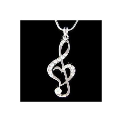 ネックレス インポート スワロフスキ クリスタル ジュエリー Aurora AB ~TREBLE G CLEF~ made with Swarovski Crystal MUSIC NOTE Heart Necklace