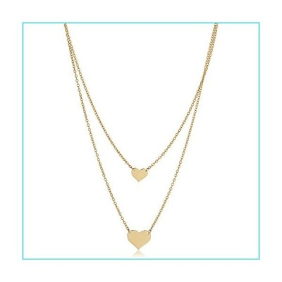 Kooljewelry 14Kイエローゴールド ダブルレイヤーハートネックレス (17または18インチまで調整可能)【並行輸