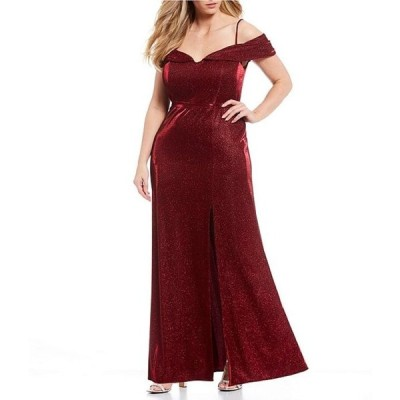モルガン レディース ワンピース トップス Plus Off-The-Shoulder Cap-Sleeve Shimmer Shine Long Dress