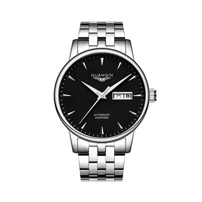 Guanqin Men Analog Fashion Automatic Self-Winding Mechanical Stainless Steel Leather Wrist Watch Date Luminous (Silver Black Steel) 並行輸入品