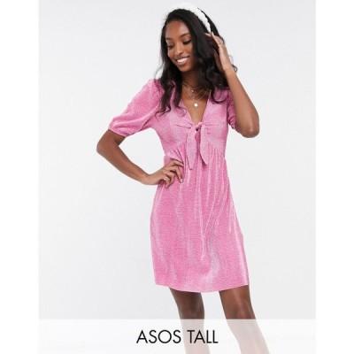 エイソス ASOS Tall レディース ワンピース ミニ丈 ワンピース・ドレス ASOS DESIGN Tall plisse mini dress with knot front in spot print