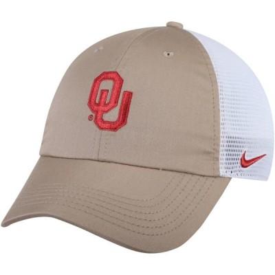 ユニセックス スポーツリーグ アメリカ大学スポーツ Oklahoma Sooners Nike Trucker Adjustable Performance Hat - Khaki/White - OSFA
