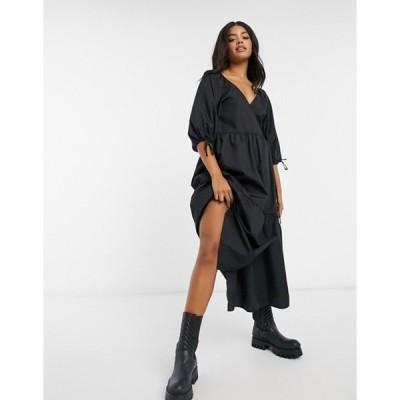 エイソス レディース ワンピース トップス ASOS DESIGN cotton poplin smock wrap midi dress in black