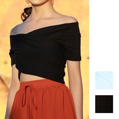 韓国 ファッション レディース トップス Tシャツ カットソー 夏 春 カジュアル オフショルダー クロス ショート エレガント リゾート naloE605 20代 30代 40代