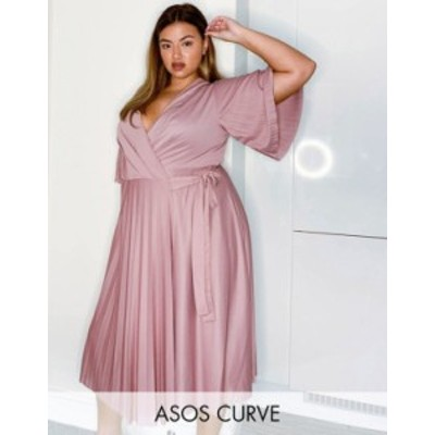 エイソス レディース ワンピース トップス ASOS DESIGN Curve kimono sleeve pleated wrap midi dress with tie waist in rose Rose