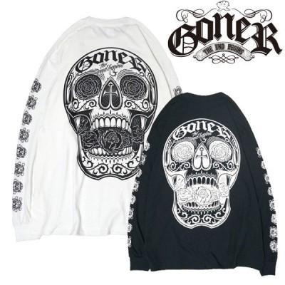 GoneR × LESSTRESS L/S T-Shirts  2色 黒・白 ロンTEE 長袖  ゴナー
