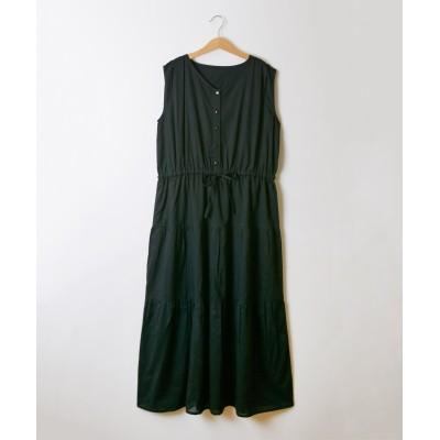 綿100% ティアードロングワンピース(123cm) (ワンピース)Dress