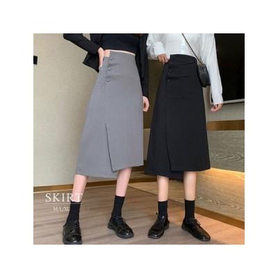 大きいサイズ レディース 不規則 スカート ハイウエスト Aラインスカート ゆったり