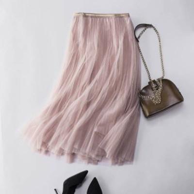 スカート レースチュール プリーツスカート ふんわり 着痩せ プリーツ ボトムス 可愛い Aラインスカート