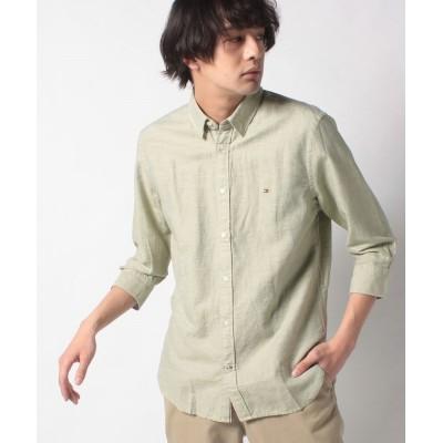 【トミーヒルフィガー】 コットンリネンツイルシャツ メンズ グリーン系 S TOMMY HILFIGER