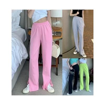 全4色 パンツ スリット 切り替え 体型カバー 着痩せ 無地 シンプル カジュアル