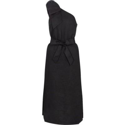 レベッカ ヴァランス Rebecca Vallance レディース ワンピース ミドル丈 ワンピース・ドレス Layla one-shoulder linen midi dress Black