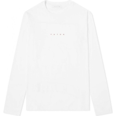 フューチャー Futur メンズ 長袖Tシャツ ロゴTシャツ トップス long sleeve logo tee White