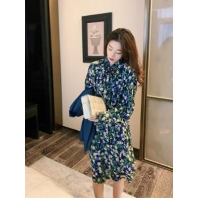 ★大人気★ ワンピース 花柄 長袖 2020 春 韓国 スカート