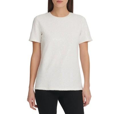 ダナ キャラン ニューヨーク Tシャツ トップス レディース Foundation Short Sleeve Crew Neck Sequin Top -