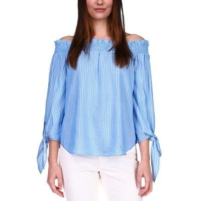 マイケルコース カットソー トップス レディース Smocked Off-The-Shoulder Top, Regular & Petite Bright Cyan Blue