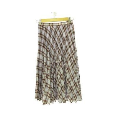 【中古】未使用品 ノーリーズ Nolley's スカート プリーツ ミモレ丈 チェック 紫 36 *A36 レディース 【ベクトル 古着】