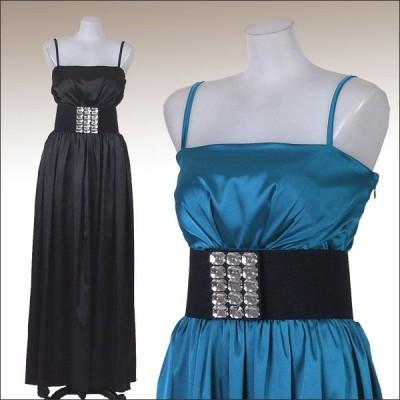 ロングドレス/大きいサイズ/結婚式 ブライダル 2次会/ビジューベルト付パーティードレス レディース