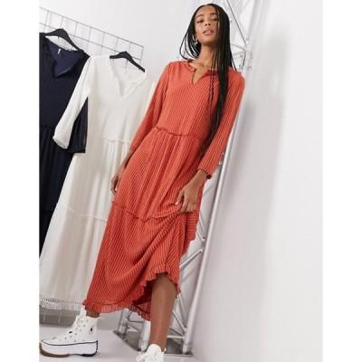 オンリー レディース ワンピース トップス ONLY long sleeved maxi dress in red