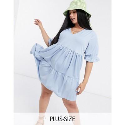 ユアーズ Yours レディース ワンピース ティアードドレス ワンピース・ドレス frill tiered smock dress in blue ブルー