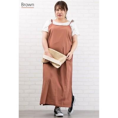 リネン調キャミワンピース ,スマイルランド, ワンピース, plus size dress