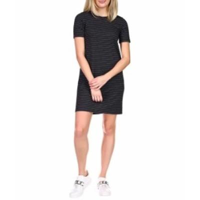 マイケルコース レディース ワンピース トップス Short Sleeve Crew Texture Dress Black/White