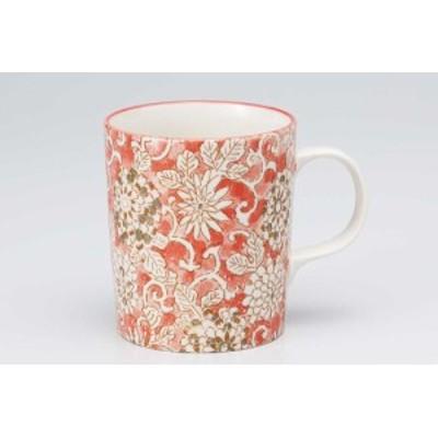 マグカップ コップ コーヒー/ 菊唐草 軽量マグ 赤 /カフェオレ 紅茶 スープ ギフト 業務用 家庭用 おしゃれ かわいい インスタ