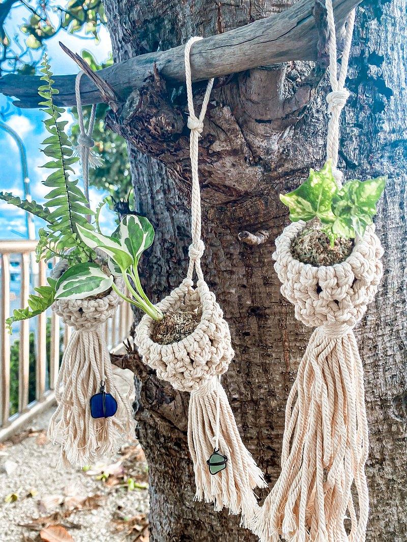 【編織網苔球】 小苔球/ 手工編織小掛網/ 海玻璃再造