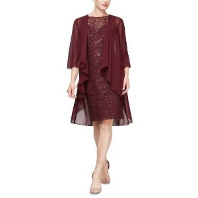 エス エル ファッションズ レディース ワンピース トップス 2-Pc. Open-Front Jacket & Sequined Sheath Dress Set Fig