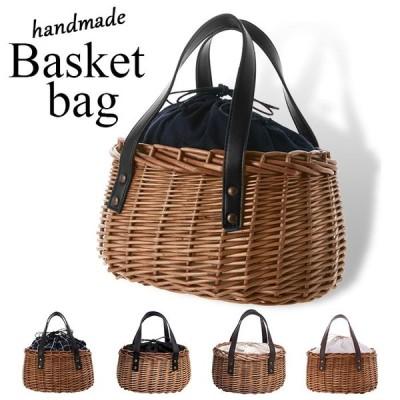 かごバッグ トート ミニサイズ 通販 カゴバッグ バスケット かご バッグ ミニトート おしゃれ レザーハンドル 柳 籠バッグ 巾着 シンプル かわいい