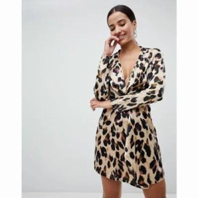 ミスガイデッド ワンピース knot front dress in leopard Leopard