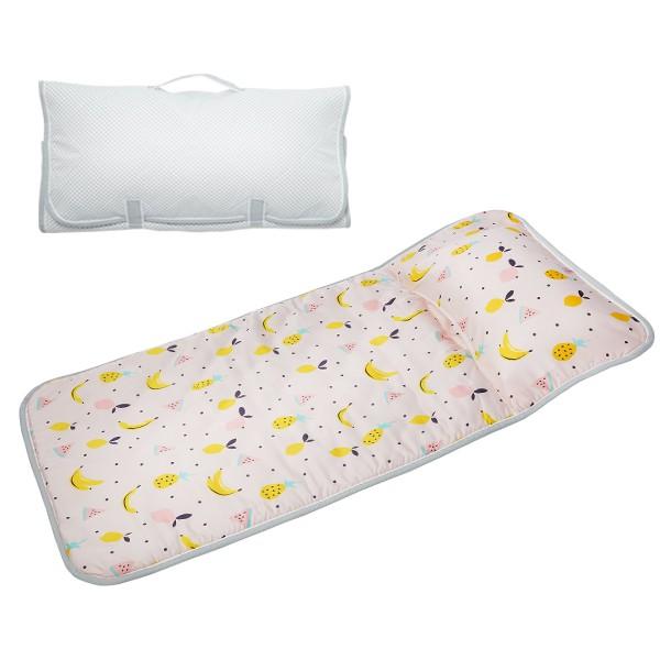 享居DOTDOT 2in1天絲睡袋睡墊(夏日水果) 專利產品 防螨抗菌 透氣防滑 收納快速 台灣製 幼稚園 收納袋洗衣袋