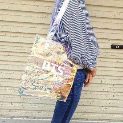 日常用/韓流グッズ◆ BTS(防弾少年団) ビニールバッグ  ショルダーバッグ レーザーバッグ おしゃれ 可愛い カバンハンドバッグ付き 透明