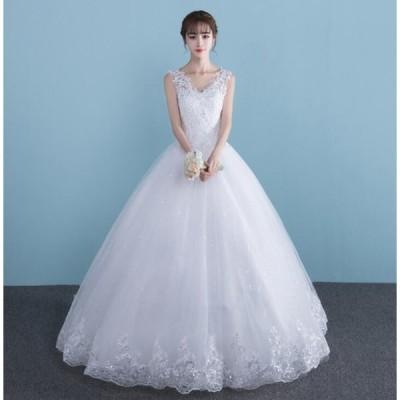 Vネックウエディングドレス 結婚式 二次会 編み上げ イベント プリンセス 花嫁 カラードレス着痩せ 20代30代40代 Aライン レースアップ