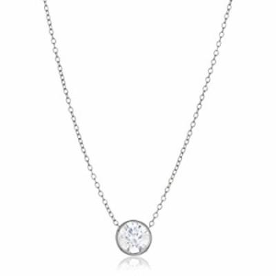 Women's 10k White Gold Swarovski Zirconia Round Bezel Solitaire Necklace, One Size