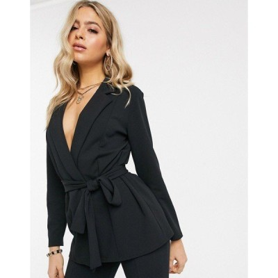 エイソス レディース ジャケット・ブルゾン アウター ASOS DESIGN jersey wrap suit blazer in black Black