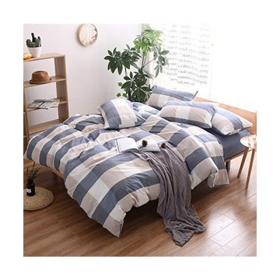 King230cm x 260cm  Style-a - HIGHBUY Washed Cotton Plaid Pattern Duvet Cove