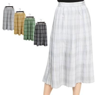 スカート フレアスカート ひざ丈 プリーツスカート チェック柄 ミディアムスカート ボトムス レディース SALE セール