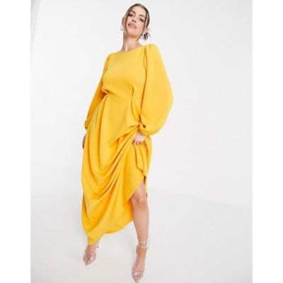 エイソス ASOS DESIGN レディース パーティードレス マキシ丈 ワンピース・ドレス Maxi Prom Dress With Puff Sleeve In Marigold マリーゴールド