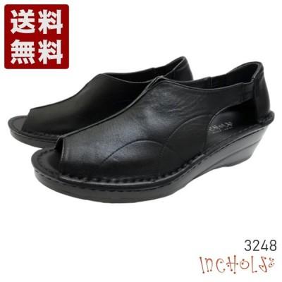 【インコルジェ 3248 ブラック】オープントゥサイドカットシューズ