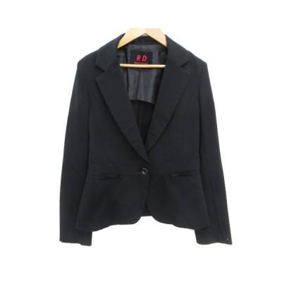 【中古】ルージュディアマン ROUGE DIAMANT ジャケット テーラード ミドル丈 シングルボタン 38 黒 ブラック /FF40 レディース 【ベクトル 古着】
