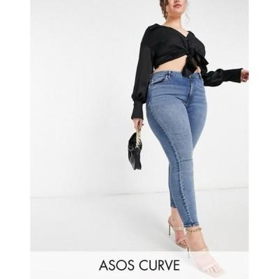 エイソス レディース デニムパンツ ボトムス ASOS DESIGN Curve high rise hourglass 'lift and contour' skinny jeans in midwash