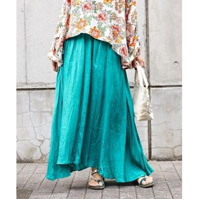 【チャイハネ】 シャンタンロングスカート IDS-1131 レディース ブルー Free CAYHANE