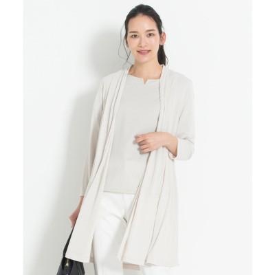 自由区 【UVケア・接触冷感】ロング丈 ハンディカーディガン (ベージュ系)